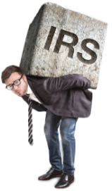 a corporate caucasian man carrying a huge boulder of stone that says irs on his back.