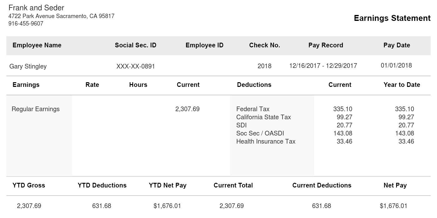 Horizontal Black Pay Stub Sample Template